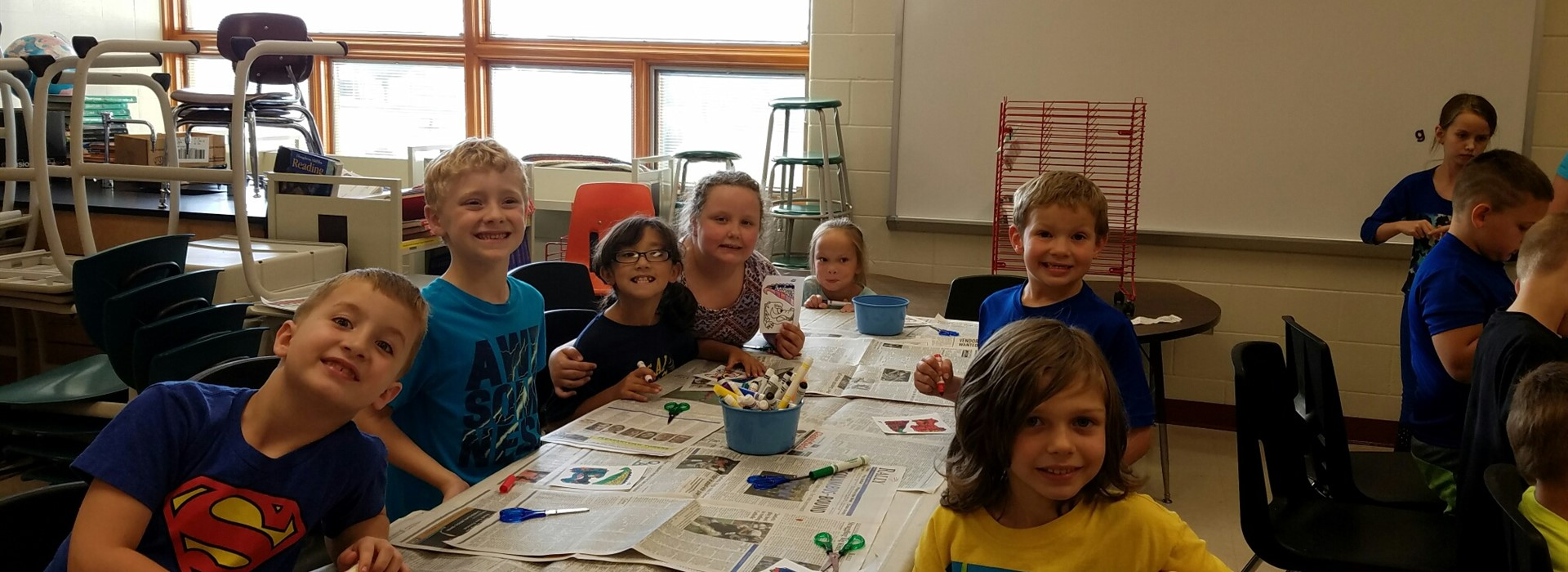 Students at NES having fun at the PTO's after-school art program