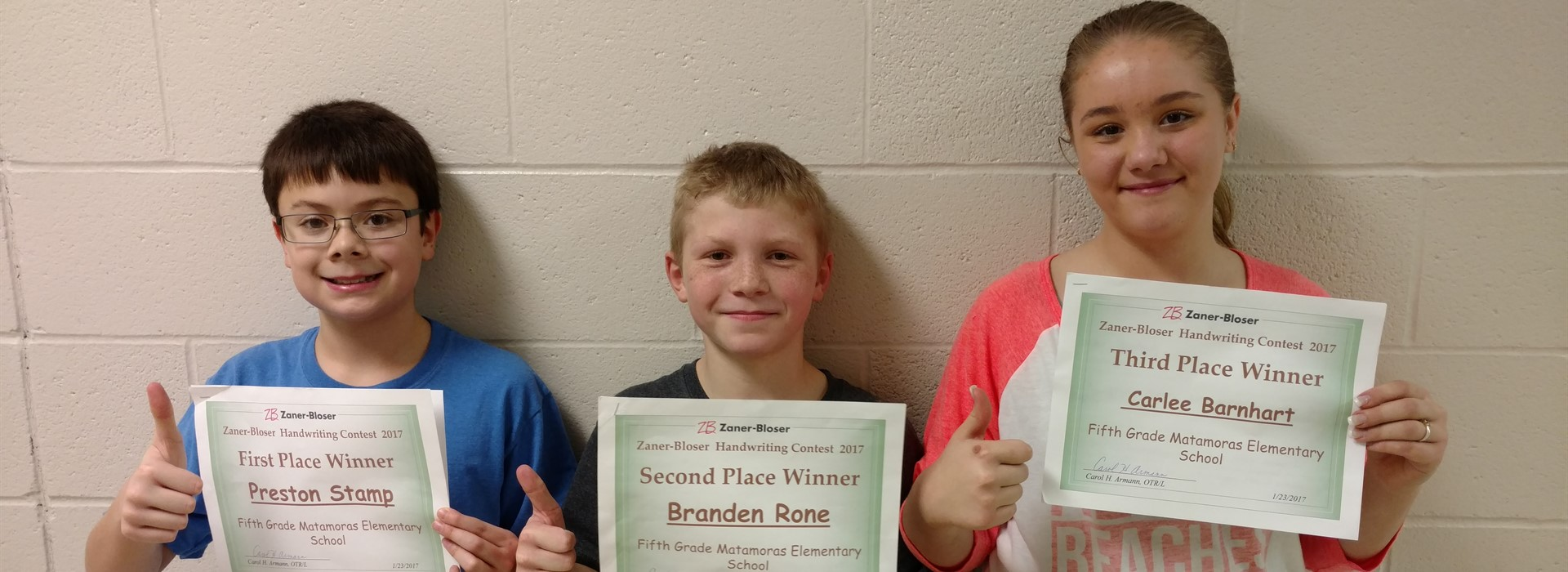 Fifth Grade Handwriting Contest Winners.  First Place Preston Stamp, Second Place Branden Rone, Third Place Carlee Barnhart