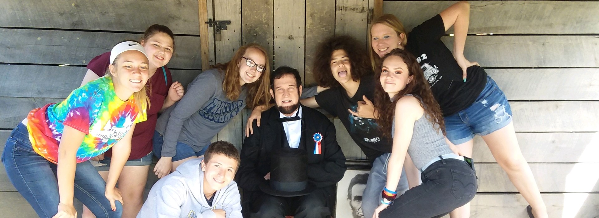 Our eighth graders with Abe Lincoln at Civil War Days